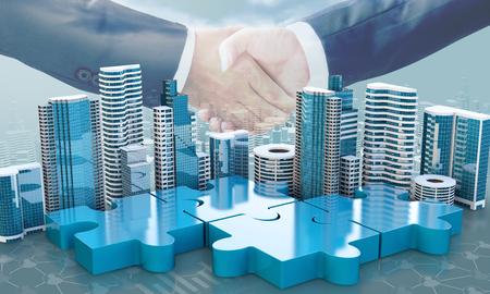 合併と買収ビジネス コンセプト、パズルのピースと握手、3 d のレンダリングに参加会社