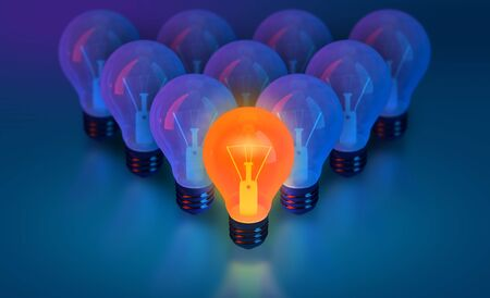 bulb lights, creative idea and leadership concept background, think different