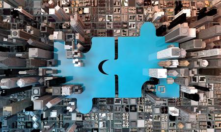 Fusions- und Erwerbsgeschäftskonzept, schließen Firma auf Puzzlespielstücken, Wiedergabe 3d an