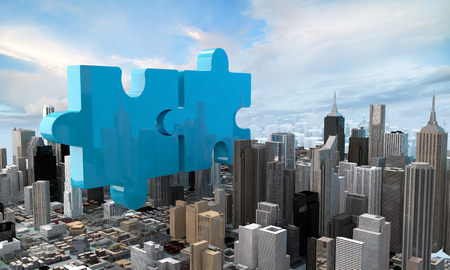 city building: merger and acquisition business concept, join company on puzzle pieces, 3d rendering