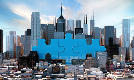 merger and acquisition business concept, join company on puzzle pieces, 3d rendering