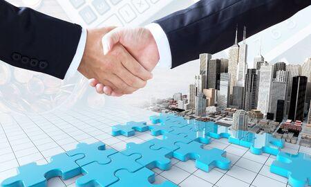 合併と買収ビジネス コンセプトは、パズルのピースと握手、3 d のレンダリングに参加会社