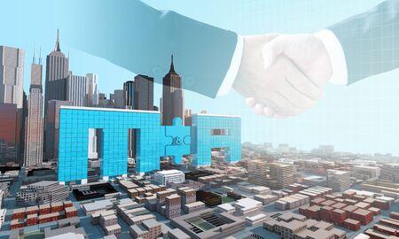 koncepcja biznesowa fuzji i przejęć, dołącz do firmy na puzzlach i uścisku dłoni, renderowanie 3d
