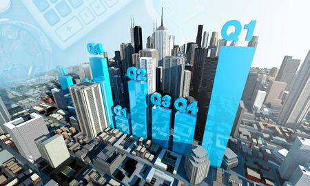 Quarter chart Graph show Growth of business, Economy 3d rendering