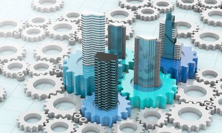merger and acquisition business concepts, join company on cogwheel pieces, 3d rendering Stockfoto