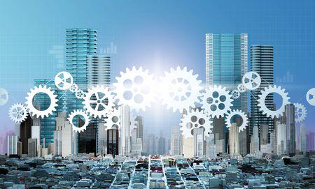 合併と買収ビジネス コンセプト、歯車の部分、3 d レンダリングを結合企業
