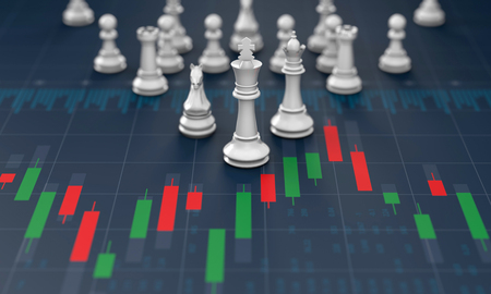 Chess on candle stick graph, planning buy sell on stock market, 3d rendering