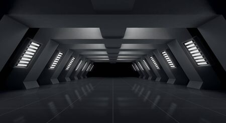 Modern black futuristic and light tunnel empty background, 3d rendering