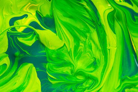 Colorful mix art paint background, green and yellow