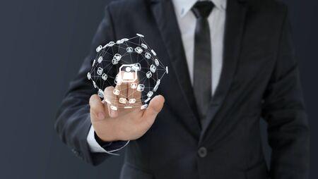 businessman touch 3d digital icon social network