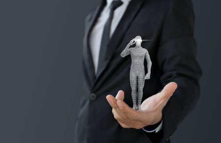 Businessman holding intelligence artificial or robot for manage assistant
