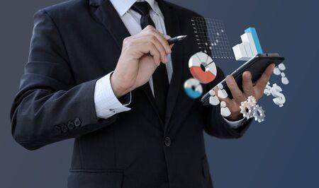 Businessman analytics 3d information financial on smartphone