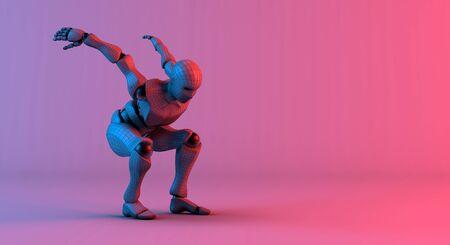 Robot wireframe prepare jump on gradient red violet background, 3d rendering Banco de Imagens