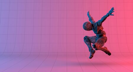 Robot wireframe jump on gradient red violet background, 3d rendering Banco de Imagens - 130053747