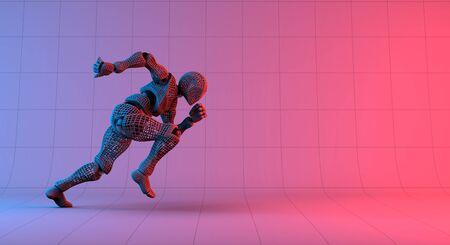 Robot wireframe fast run on gradient red violet background, 3d rendering Banco de Imagens