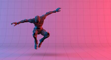 Robot wireframe jump on gradient red violet background, 3d rendering