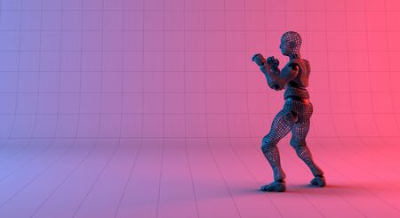 Robot wireframe guard stance on gradient red violet background, 3d rendering Banco de Imagens - 130053750