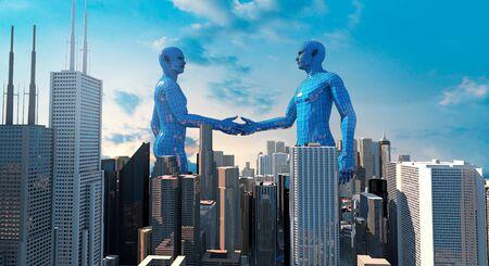 merger and acquisition business concept, join company robot handshake , 3d rendering Banco de Imagens