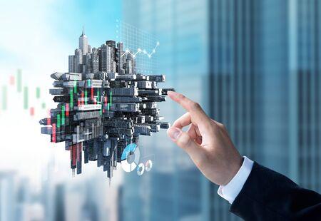 Businessman check investment information chart on modern building 3d model