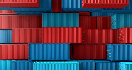 Stack of containers box, Cargo freight ship on top view, 3D rendering Banco de Imagens