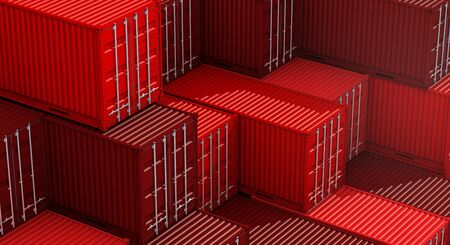 Stack of red containers box, Cargo freight ship for import export logistics 3D rendering Banco de Imagens