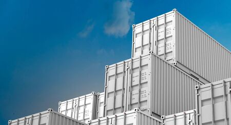 Stack of white containers box, Cargo freight ship for import export logistics 3D rendering