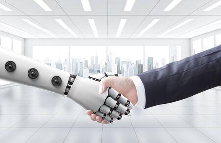 Businessman shake hand with machine or robot Zdjęcie Seryjne