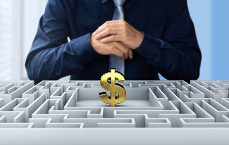 Businessman find the way to get money on 3d maze