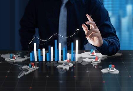 Businessman show chart profit on digital 3d world map screen