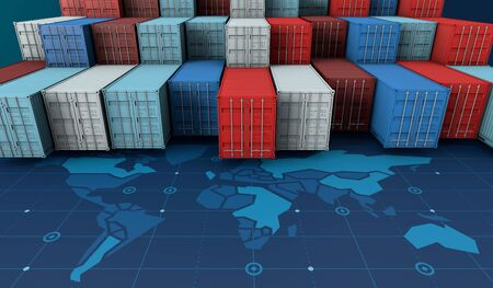 Container cargo ship in import export business logistic on digital world map, 3d rendering