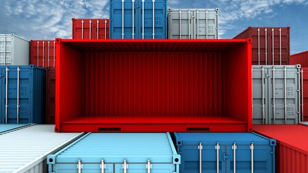 Whole side and empty red container box at cargo freight ship, 3d rendering Фото со стока