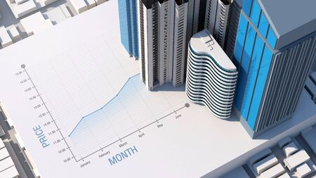 Price stock value graph of property and real estate investment, 3d rendering