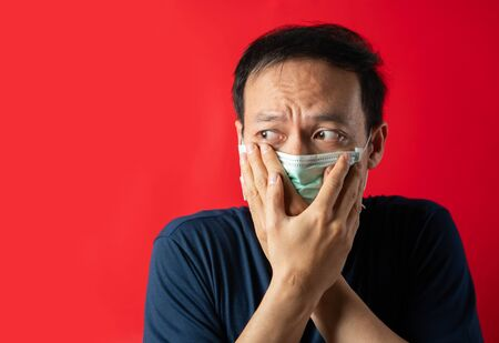 Man with mask fear virus Infect and pollution