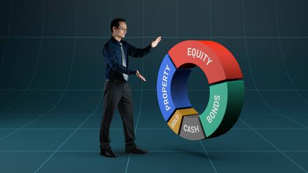 Businessman manage asset allocation for investment 免版税图像