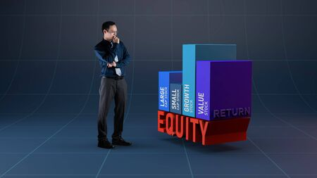Businessman analysis return of equity stock market for investment