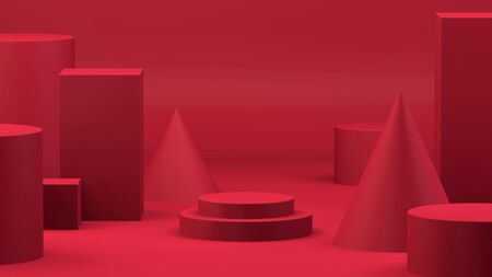 Red abstract geometric minimal background and circle cylinder stage on center, 3d rendering