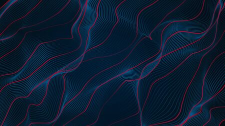 Abstract blue and red line wave smooth curve 3d rendering background 免版税图像