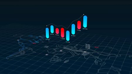 Stock market canclestick chart index over world map background, 3d rendering