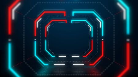 abstract blue and red neon light hexagon tunnel background 免版税图像