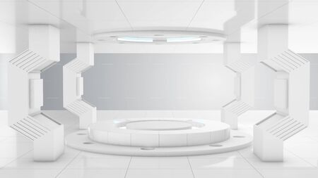 White futuristic 3d construction tunnel lab and circle stage center