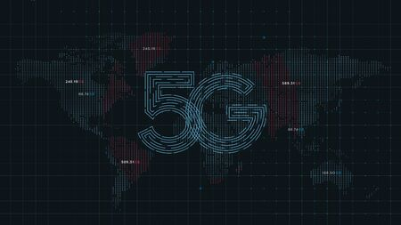 5g technology internet on world map dots, digital futuristic design 免版税图像