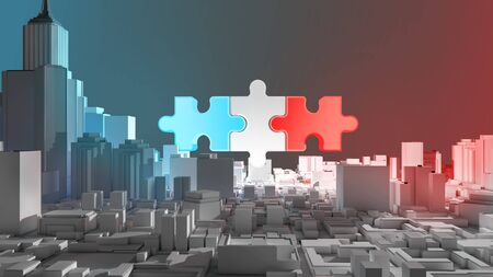 Merger and acquisition world politic concept, join blue and red (america and china) on puzzle pieces, 3d rendering