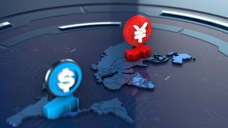 Focus new Yuan digital currency of china on world map, 3d rendering 免版税图像