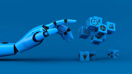 Blue robot hand manage business icon, A.I. and machine technology assistant for industrial, 3d rendering