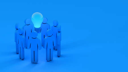Group of people icon and lightbulb, brainstorm teamwork for new idea, 3d rendering 免版税图像