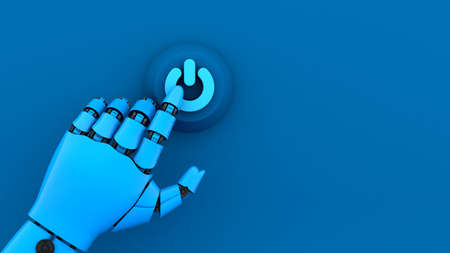 Blue robot hand press turn on button, start A.I. machine system for business, 3d rendering