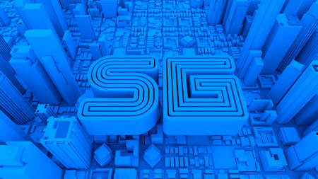 5G new technology telecommunication blue icon with city building, 3d rendering