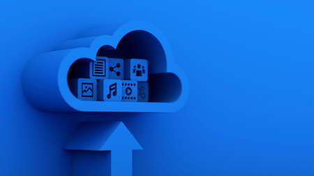 Media and information icon upload to blue cloud computing server, 3d rendering
