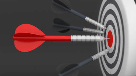 Arrow on center dartboard, target and goal strategy business, 3d rendering Stock Photo