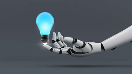 White robot hand make power to light bulb, A.I. and machine technology assistant for creative, 3d rendering Stock Photo